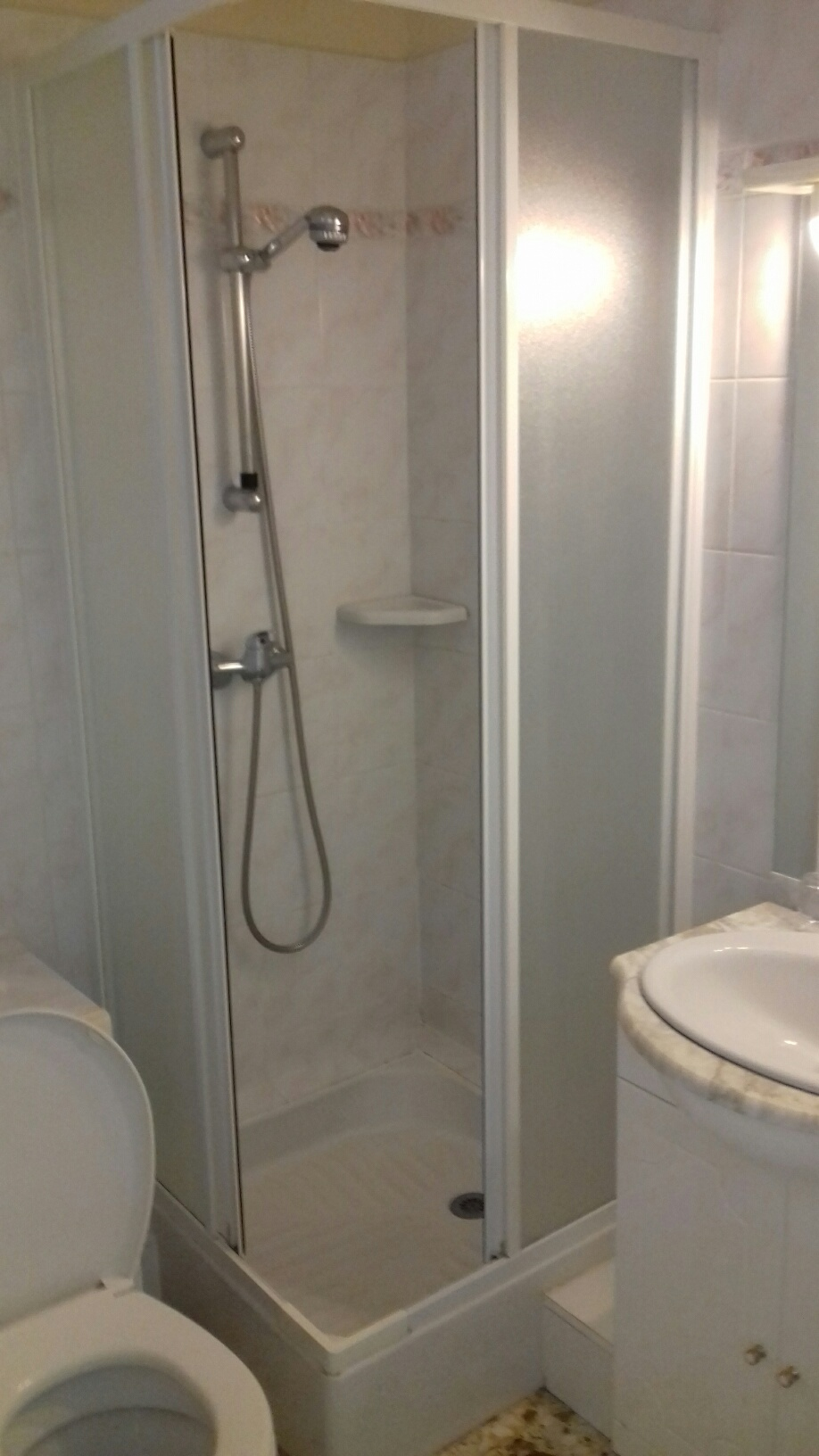 Salle de douche entièrement carrelée avec wc :